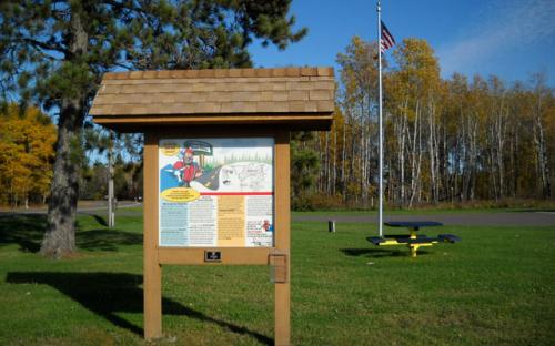 Timothy Township Interpretive panel in summer
