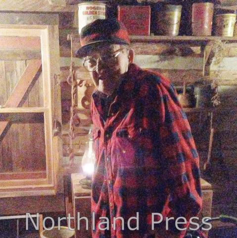 90 year old Leo Fraser continues to volunteer at the Historic Log Village , Leo is seen here at the annual Cider and Candlelight event on September 30th - photo submitted