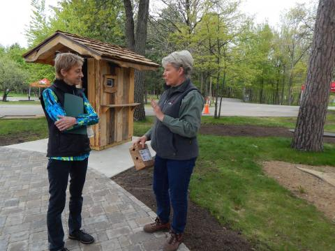 "Visitors can listen to audio stories at two interpretive ""talking boxes"" at the Linda Ulland Memorial Gardens, Crosslake Recreation Area USACE Campground entrance."