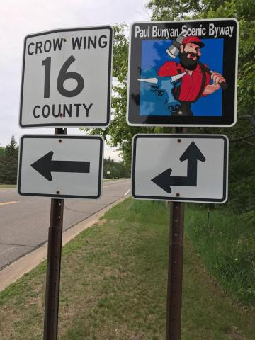 New Paul Bunyan Scenic Byway route signage installed along its county roads.