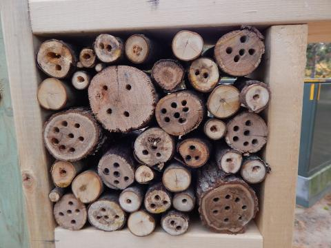 Bug houses, donated by Peggy Fowler, are installed near the entrance to Linda Ulland Memorial Gardens.