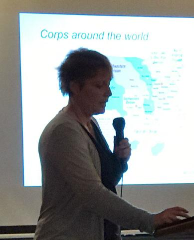 Crosslake's US Army Corps of Engineers Supervisor, Corrine Hodapp, presented interesting and amazing info about the Corps and in particular, the Crosslake Recreation Area.