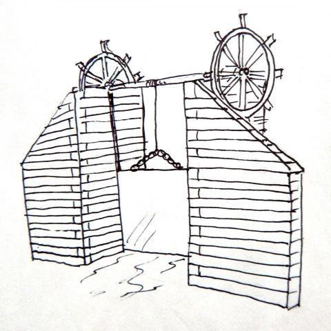 New interpretive amenity at Linda Ulland Memorail Gardens. Sketch of one Talking Box design-rendition of historic dam gate on the Pine River at Cross Lake.