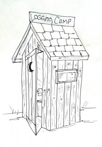 New interpretive amenity at Linda Ulland Memorail Gardens. Sketch of another Talking Box design-rendition of historic, rustic logger camp outhouse.