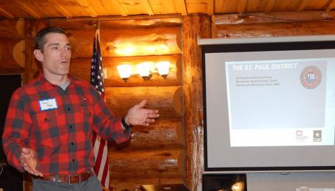 Permitted-to-wear-plaid and happy to oblige, came Major Jason Toth and a talk about the role of the USACE in the St. Paul Headwaters region.