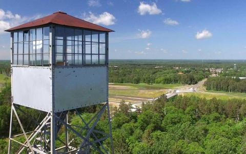 The cab of the Pequot Lakes fire tower was once used by the Department of Natural Resources forestry to watch for wildfire. Today, the tower sits empty due to budgetary issues and constant vandalism. Travis Grimler/Echo Journal