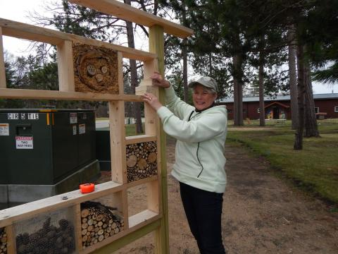 Peggy Fowler, Byway member, and MN Master Naturalist, created this Insect House (seen here in its early stages) near the entrance to the Gardens.