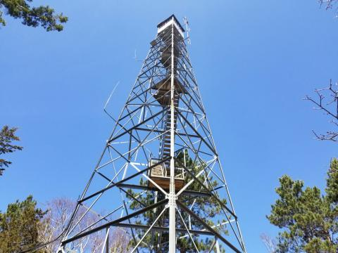 Ground view of the Historic Pequot Lakes Fire Tower
